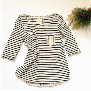 Anthro. Postage Stamp Stripe Blouse